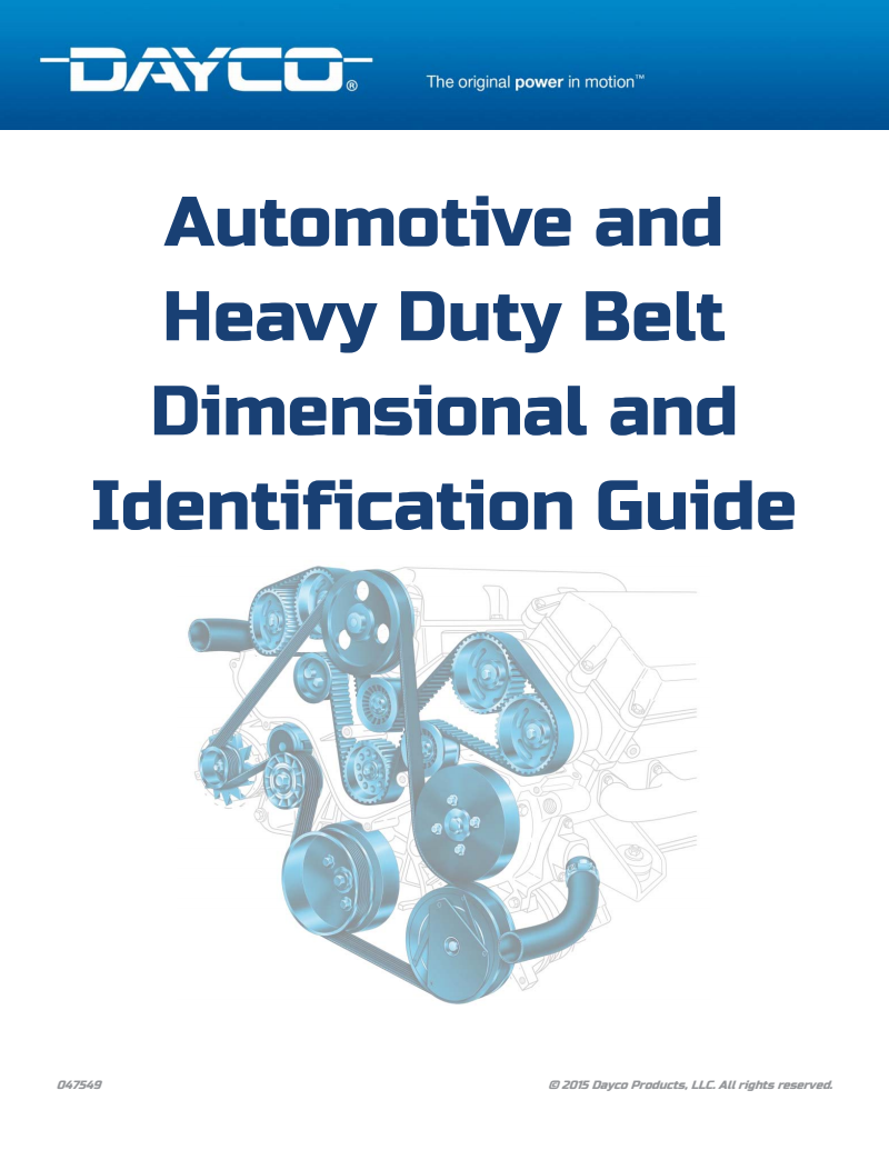 Dayco Products Belts Guide 2015
